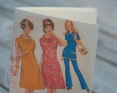 1960s Ladies Jotter Notebook made from vintage sewing pattern, blue leisure suit