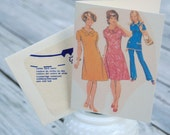Set of 4 1960s Ladies Notecards made from vintage sewing patterns
