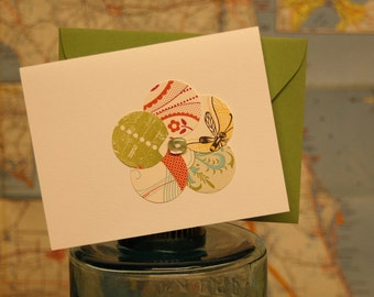 Upcycled letterpress and vintage button flower card, no. 2