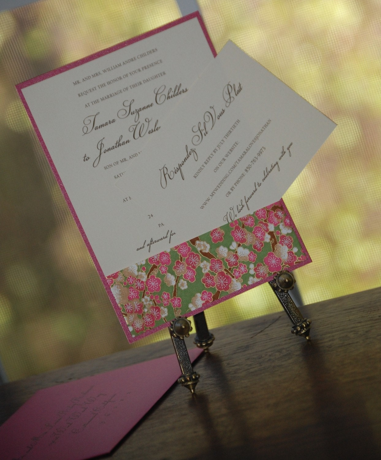 japanese chiyogami wedding invitation or announcement