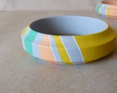 NEW  Pastel colours handpainted wooden bracelet - grey, peach, turquoise, white and yellow