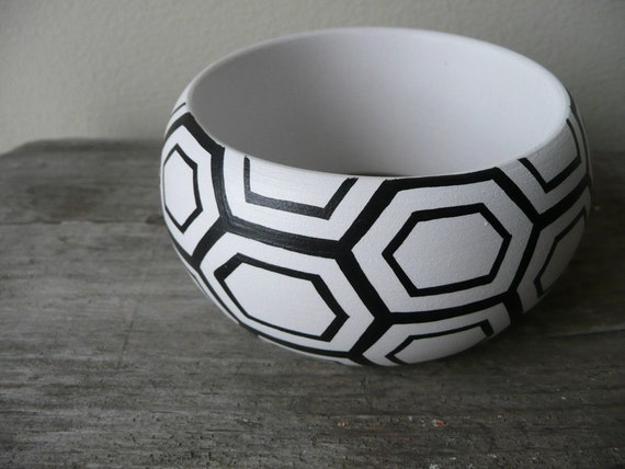 RESERVED for Nicole Claire : Black and white handpainted wooden bracelet