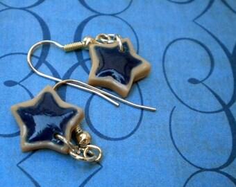 Navy Blue Star Shaped Sugar Cookie Earrings (Post or Dangle)