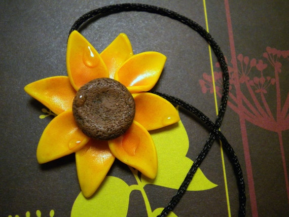 Sunny Yellow Sunflower Necklace
