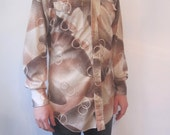 70s Mens H Bar C Psychedelic Western Shirt, M