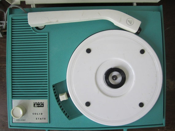 Turquoise & White Arvin Portable Phonograph Record Player