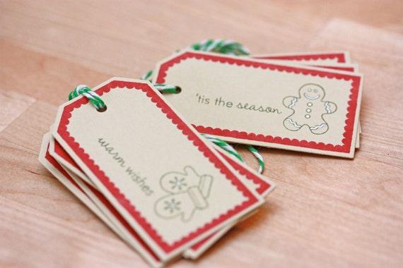 Tiny Christmas Holiday Gift Tags - Set of 8
