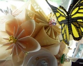 Butterfly Corsage With 4 Fancy Origami Flowers and 2 Monarch Butterflies