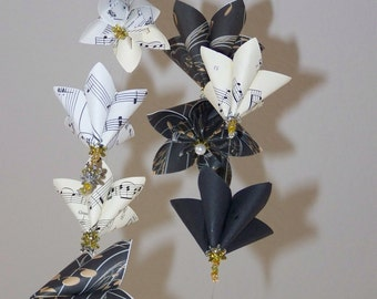 Origami Sheet Music Mobile 12 Flowers Included