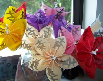 Origami Kusudama Paper Flowers With Kanji Symbol for Happiness 5 Included