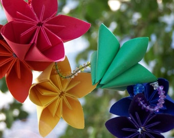 Origami Rainbow Mobile Includes 5 Brightly Colored Flowers