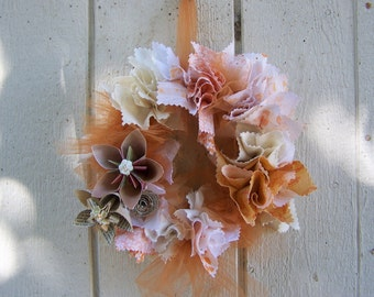 Shabby Chic Fabric and Origami Flower Wreath 11 Inch Customized