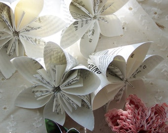 Book Page Origami Paper Flowers Grab Bag Includes 10 Flowers