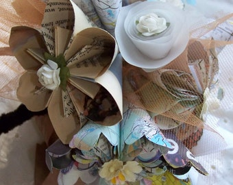 Origami Paper Flower Bouquet With Map, Book, and Music Flowers