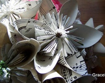 Vintage Sheet Music Paper Flowers of the Kusudama Kind 5 Included