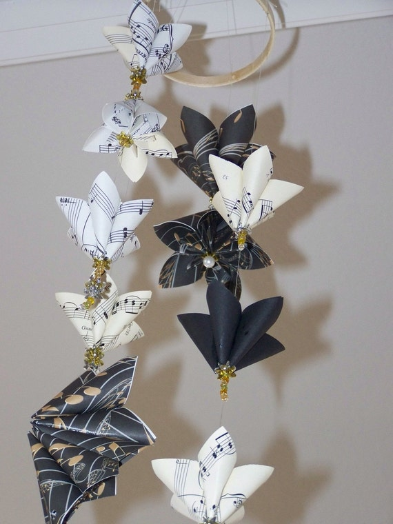Origami Mobile Music Flowers with Contrasting Colors 12 Flowers Included