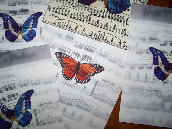 Sheet Music Butterfly Song Wall Decor Ready for Matte and Frame