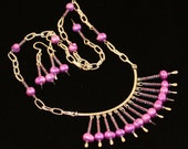 Purple Dyed Pearl Necklace and Earrings