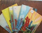 Set of 6 Antique Souvenir Travel Postcard Books