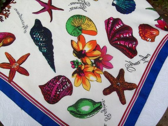 Vintage Seashell Print Scarf