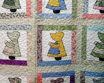 Sunbonnet Sue Applique Quilt in Soft Colors Use Code 30PercentOffSale to reduce listed price by 30%!