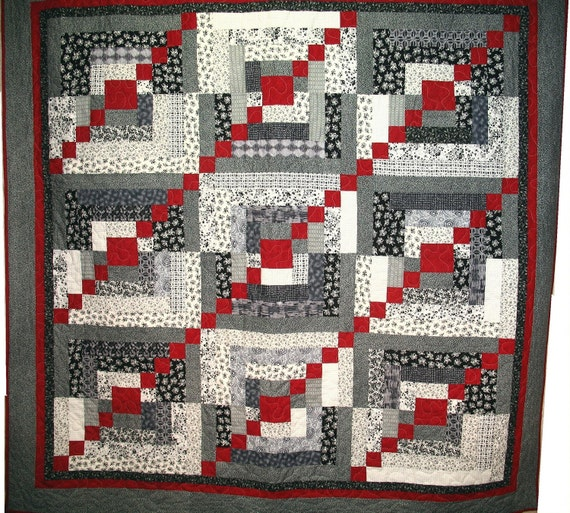 Black, White and Red Big Blocks Patchwork Full Quilt