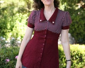 Vintage Shirt - Burgundy Knit Shirt with Gingham Top - A-Line with puffy sleeves.