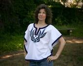 Vintage Women's Shirt - White Cotton Boho Poncho Blouse with Blue Embroidery