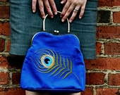 Blue purse with a peacock handcrafted embroidery