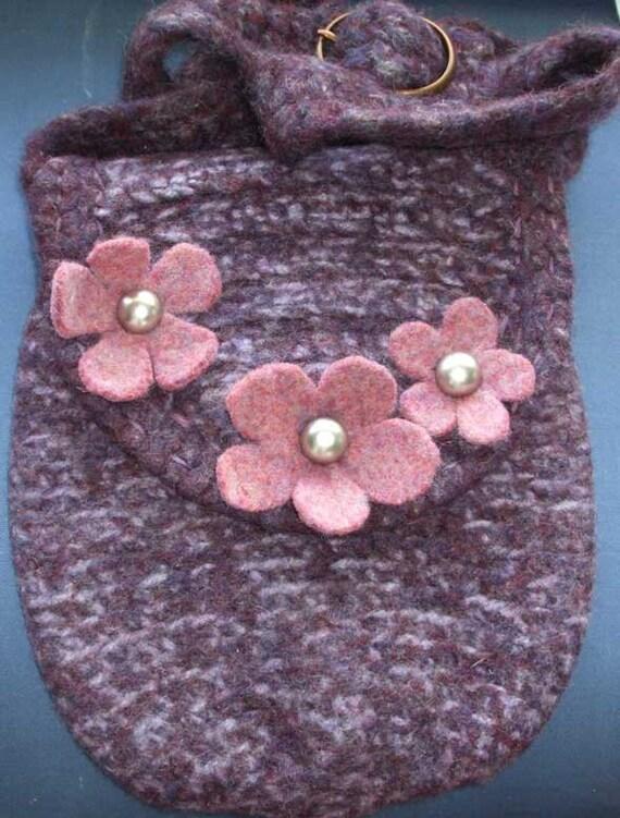 Floral  Scottish heather boiled felted wool shoulder bag