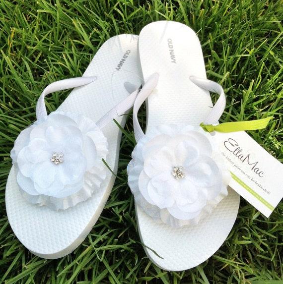 White Flower Bridal Flip Flops