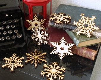 Wood Snowflake Ornaments