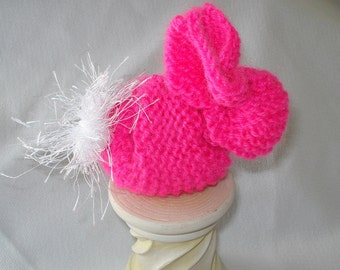Knit Bunny in Neon Pink Ready to Ship Knit Easter Bunny
