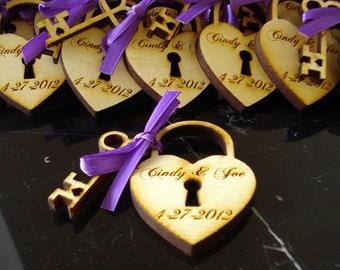 140 Heart and Skeleton Key Wedding Favors