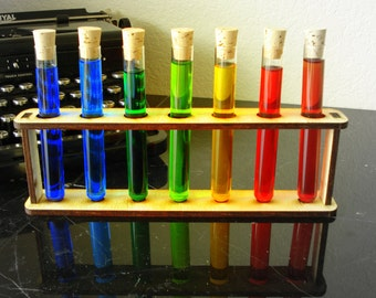 Seven Test tubes with Corks and Holder Mad Scientist Lab