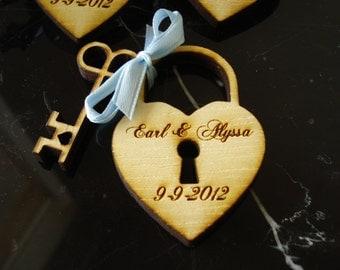 110 Heart and Key Wedding Favors Skeleton Key Favor