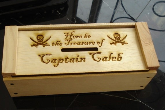 Personalized Wooden Crate Bank