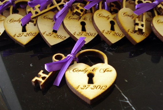 Heart and Key Wedding Favors
