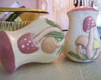 Large Vintage Pink Mushroom Salt and Pepper Shakers in fabulous vintage condition
