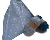 Blue spotty pyramid knitting bag. Sewing, knitting, stashing. UK location.