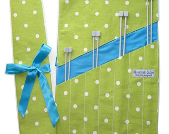 Lime Green Spotty Knitting Needle Roll -UK SHOP