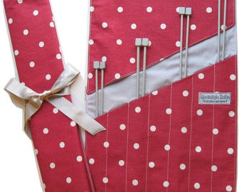 Red spotty knitting needle roll- UK location