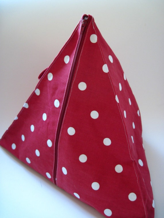 Pyramid Knitting Bag Pattern : Red spotty pyramid knitting bag. Sewing, knitting, stashing. UK SHOP from Nos...