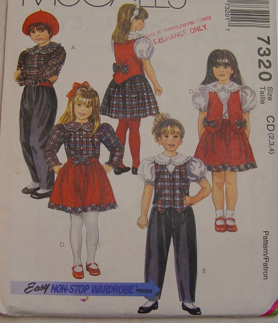 Darling Girls Blouse, Vest, Pants and Skirt Pattern, McCalls 7320, sizes 2-3-4, uncut, toddler