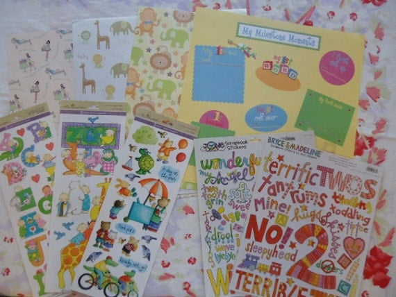 Neutral Baby Toddler Scrapbook Kit- Paper, Stickers, Tags