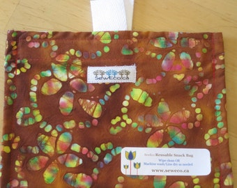 Beautiful Batik Reusable Eco Friendly Snack Bag by Seweco/Easy Open /Child Friendly Tabs/FOOD SAFE