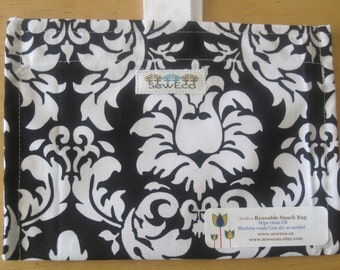 Dandy Damask Reusable Eco Friendly Snack Bag by Seweco/Easy Open /Child Friendly Tabs/FOOD SAFE