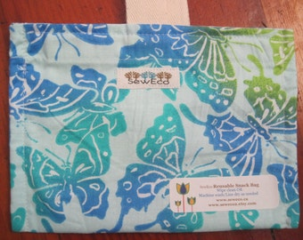 Flutter By Blue Reusable Eco Friendly Snack Bag by Seweco/Easy Open /Child Friendly Tabs/FOOD SAFE