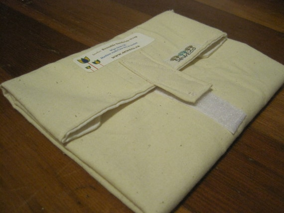 STAY FRESH Reusable Sandwich Wrap by SewEco// 3 Layers of fabric for freshness//Au Naturel Unbleached Cotton