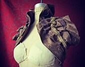 Opulent Victorian Steampunk Shoulder Wrap Shrug Brown Suedecloth